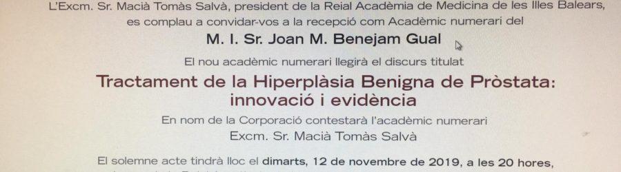 Reial Academia 12 Nov 2019 Dr Benejam