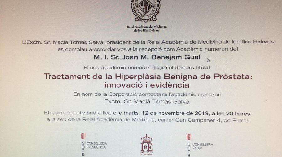 El Dr. Joan Benejam, nuevo académico numerario de la Reial Acadèmia de Medicina de les Illes Balears